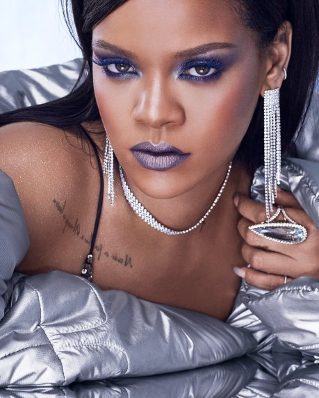 Rihanna promoting Fenty Beauty Chill Owt Collection