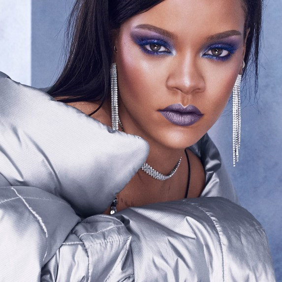 Rihanna promoting Fenty Beauty Chill Owt Collection, metal lipstick, shimmer eyeshadow