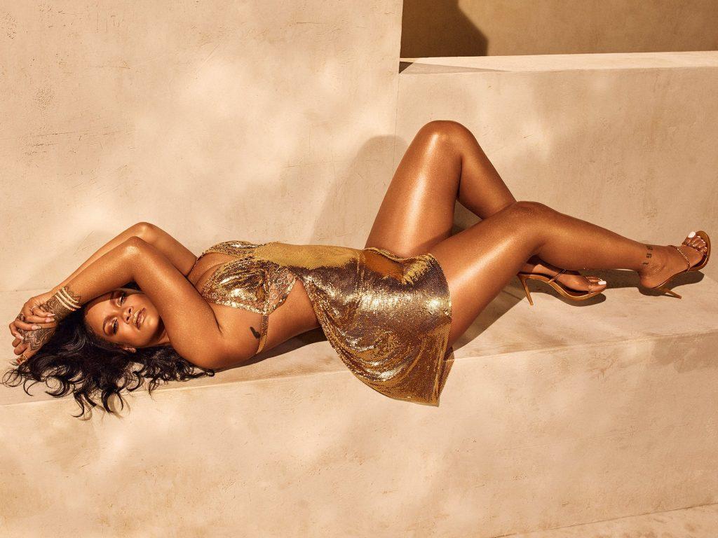 Rihanna for Fenty Beauty Body Lava Trophy Wife promo laying