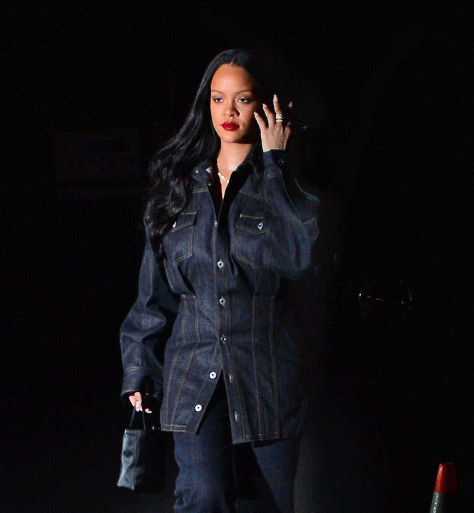 Rihanna rocks double denim for dinner in NYC on April 16, 2019