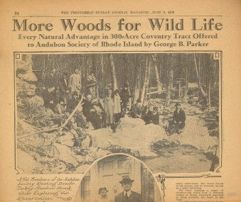 """More Woods for Wild Life."" Providence Journal, June 3, 1928."