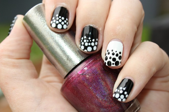 black white nails dots Fancy Friday - Sort/hvid