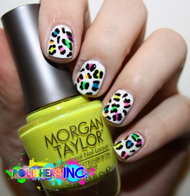 Polishers Inc Safe and sound Neon Leo nails Nail art 2015