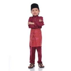 Baju Melayu Kids SOLID MAROON - Rijal & Co 01
