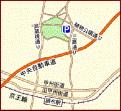 神代植物公園第二駐車場の地図