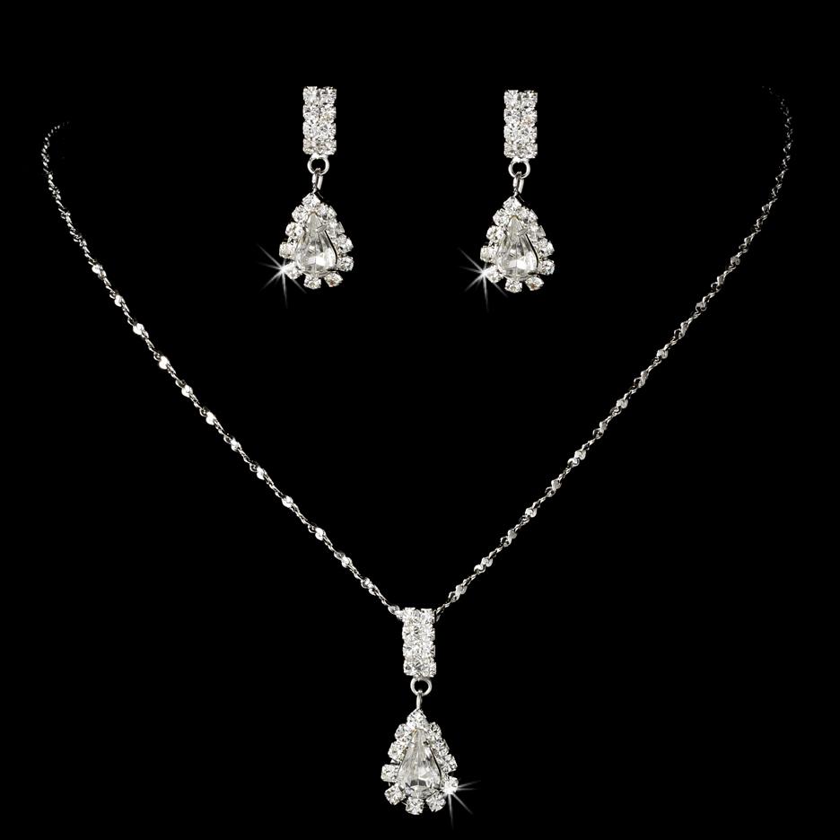 bridesmaid jewelry set pendant necklace earrings rhinestones wedding jewelry