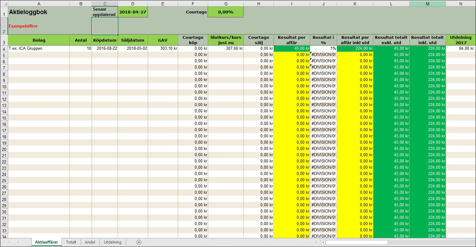 Excel porr återhämtning