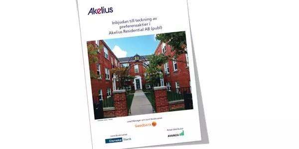Försättsbild till artikeln: Preferensaktie i Akelius med en förväntad kvartalsavkastning - Årlig utdelning om ca 6.7 % per år, ca 5 kr per kvartal (20kr/år) per aktie om 300 kr per st.
