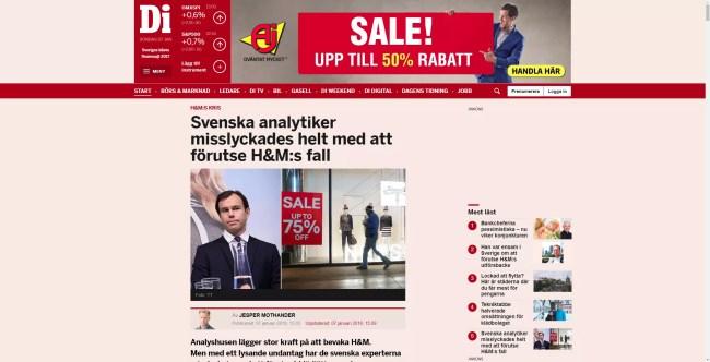 Dagens Industri 7 januari 2018 om att svenska analytiker misslyckades med att förutse H&Ms fall