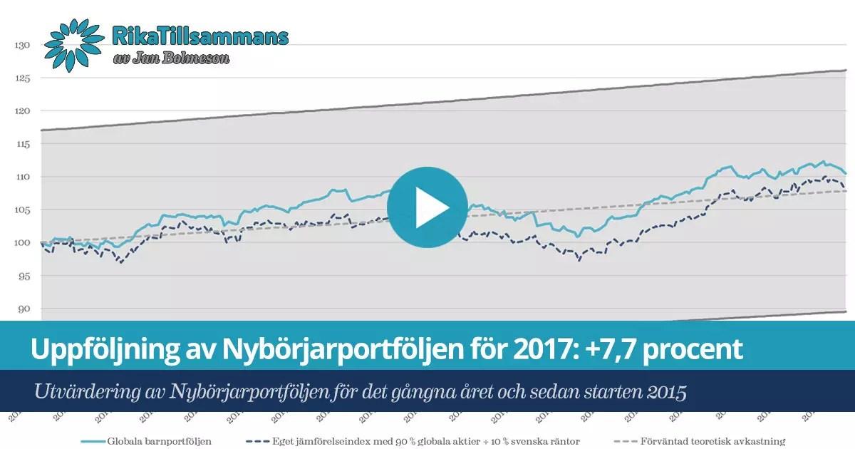 Försättsbild till artikeln: Uppföljning av Nybörjarportföljen för 2017: +7,7 procent - Utvärdering av Nybörjarportföljen för det gångna året och sedan starten 2015