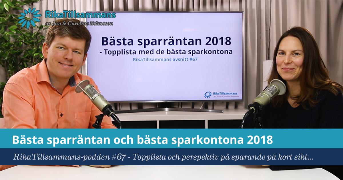 Bästa sparräntan 2018 | Topplista med förslag på bäst sparkonto