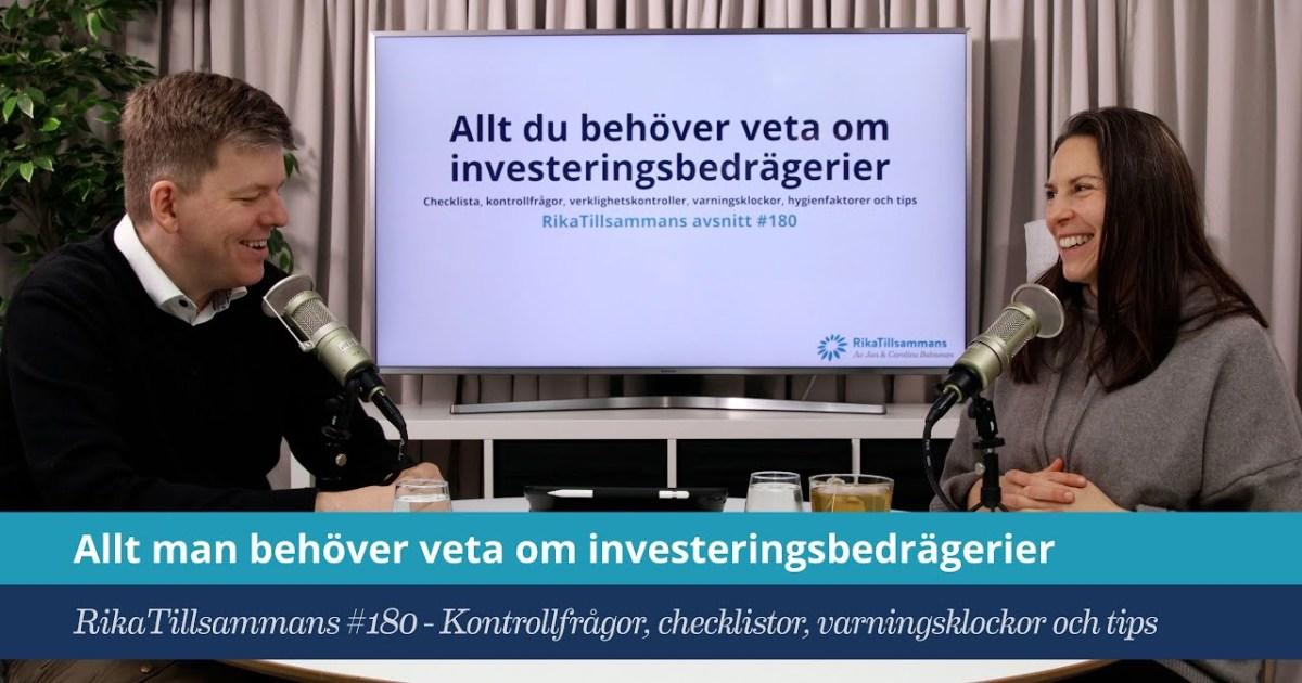 Försättsbild till artikeln: Om investeringsbedrägerier | Del 1 av 2 - #180 - En fördjupning om finansiella bedrägerier med en checklista, kontrollfrågor, varningsklockor m.m