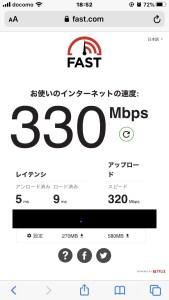 5GHzのGで通信速度を測定した場合