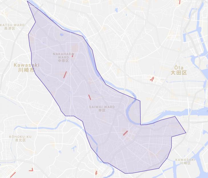 UberEATSの川崎周辺対象エリアマップ