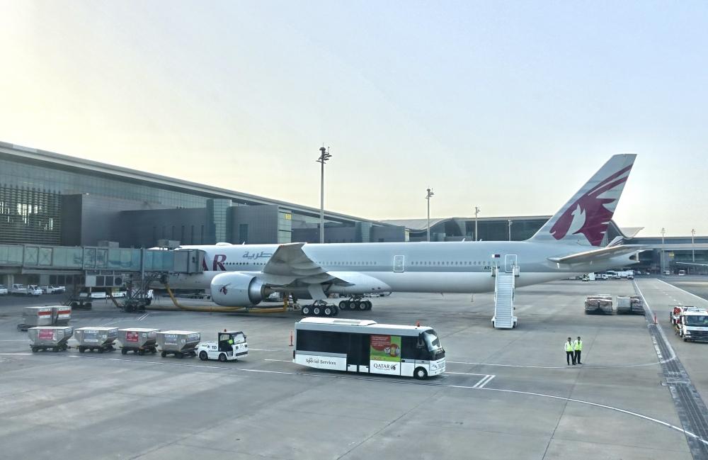 ドーハ国際空港に駐機するカタール機