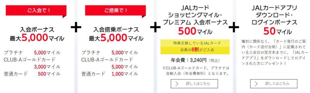JALカードの入会・搭乗ボーナスマイル内訳