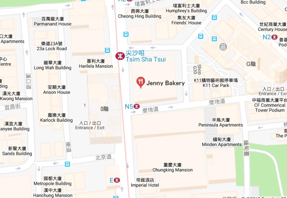 香港ジェニーベーカリーの地図