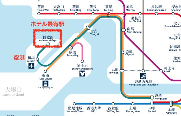 香港エアポートエクスプレスの路線図