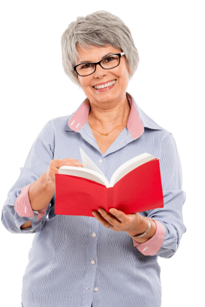 woman holds book