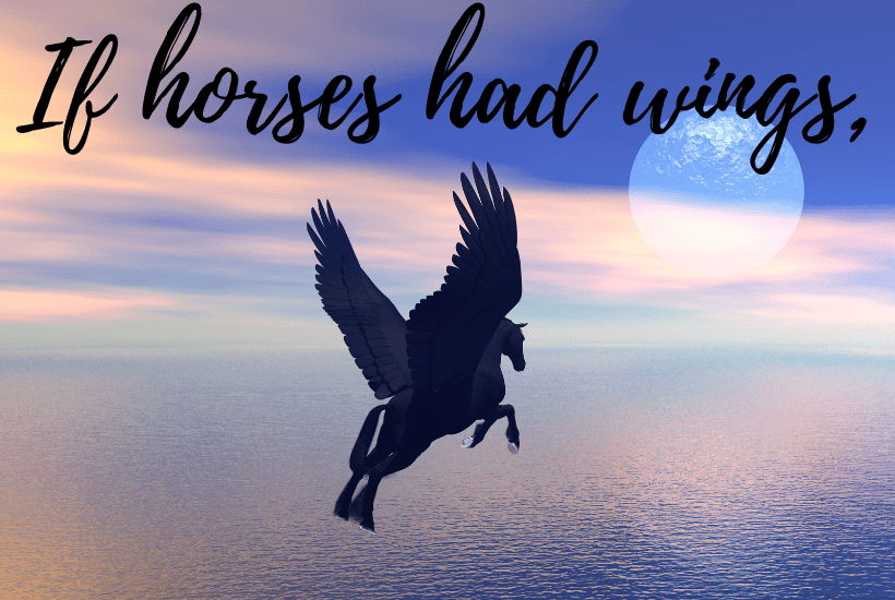 Conditionals sentence starter:  If horses had wings,