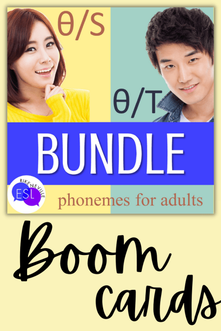 Cover image for a bundle of BOOM cards to use as one of the TH-pronunciation activities for adult ESL