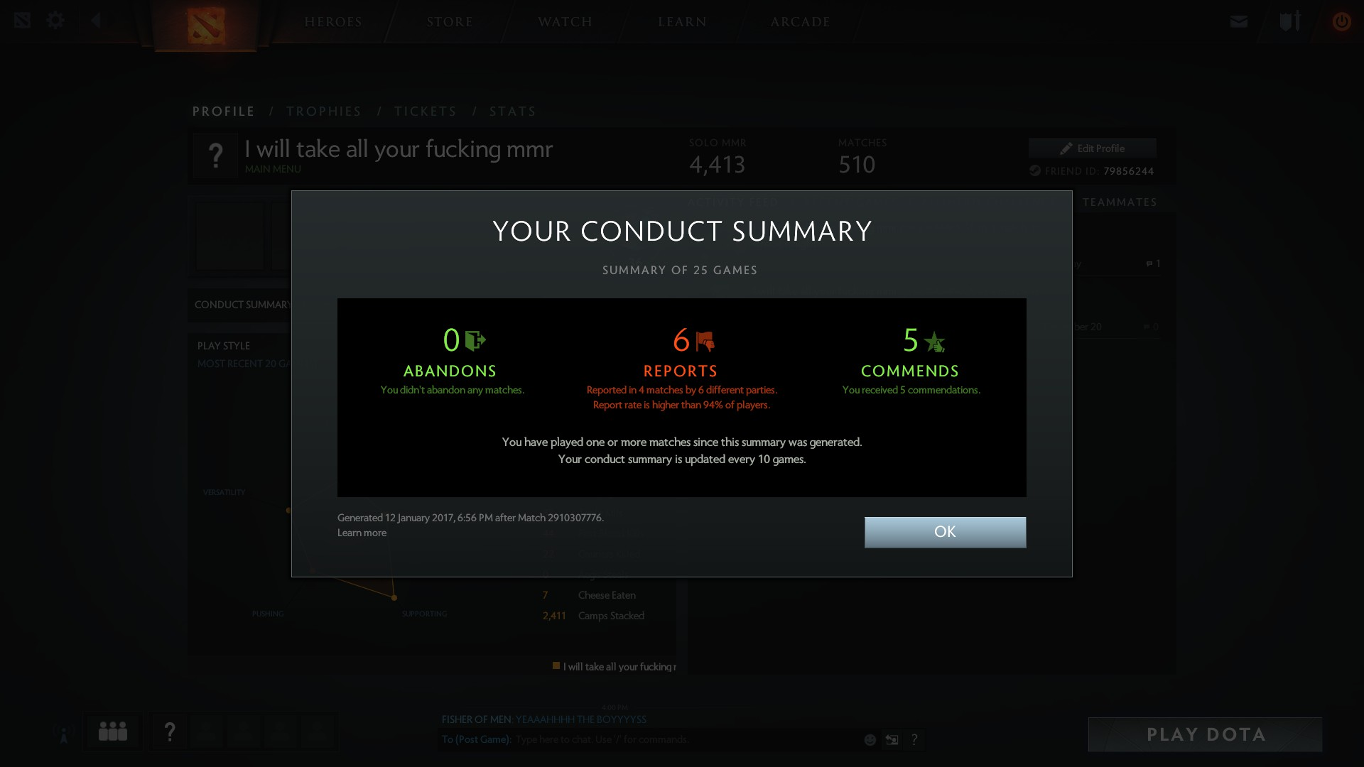 General Discussion Post Your Conduct Summary DOTABUFF