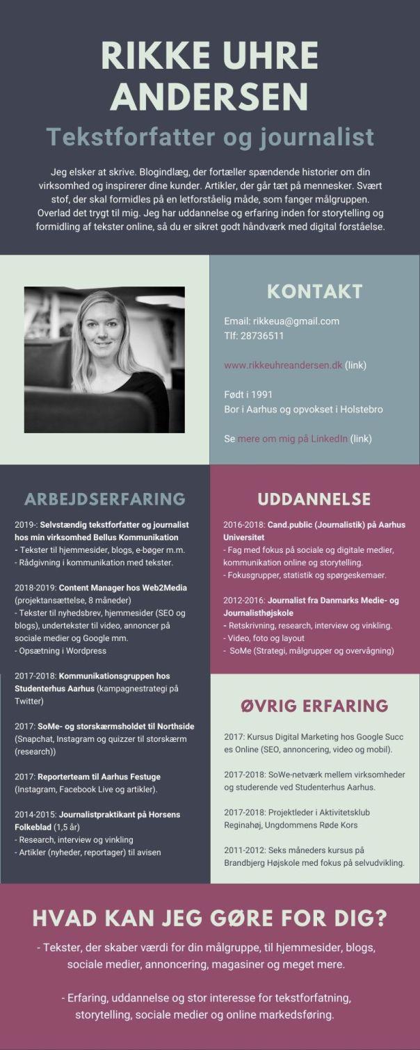 Rikke Uhre Andersens CV, tekstforfatter og journalist hos Bellus Kommunikation