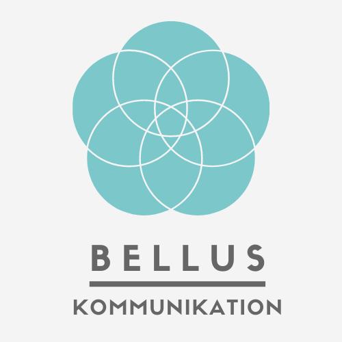 Logo af en blå blomst, som illustrerer Rikke Uhre Andersens virksomhed Bellus Kommunikation