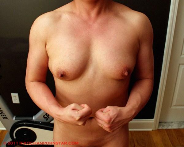 Nude FBB pec flex progress picture