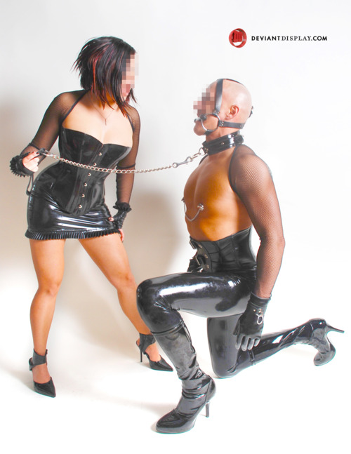 Dominatrix Mistress K and her sexy sub Pet show off their lovely latex.
