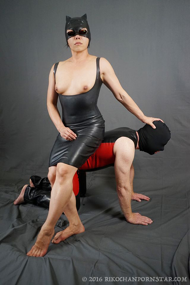 Rikochan and slave in latex