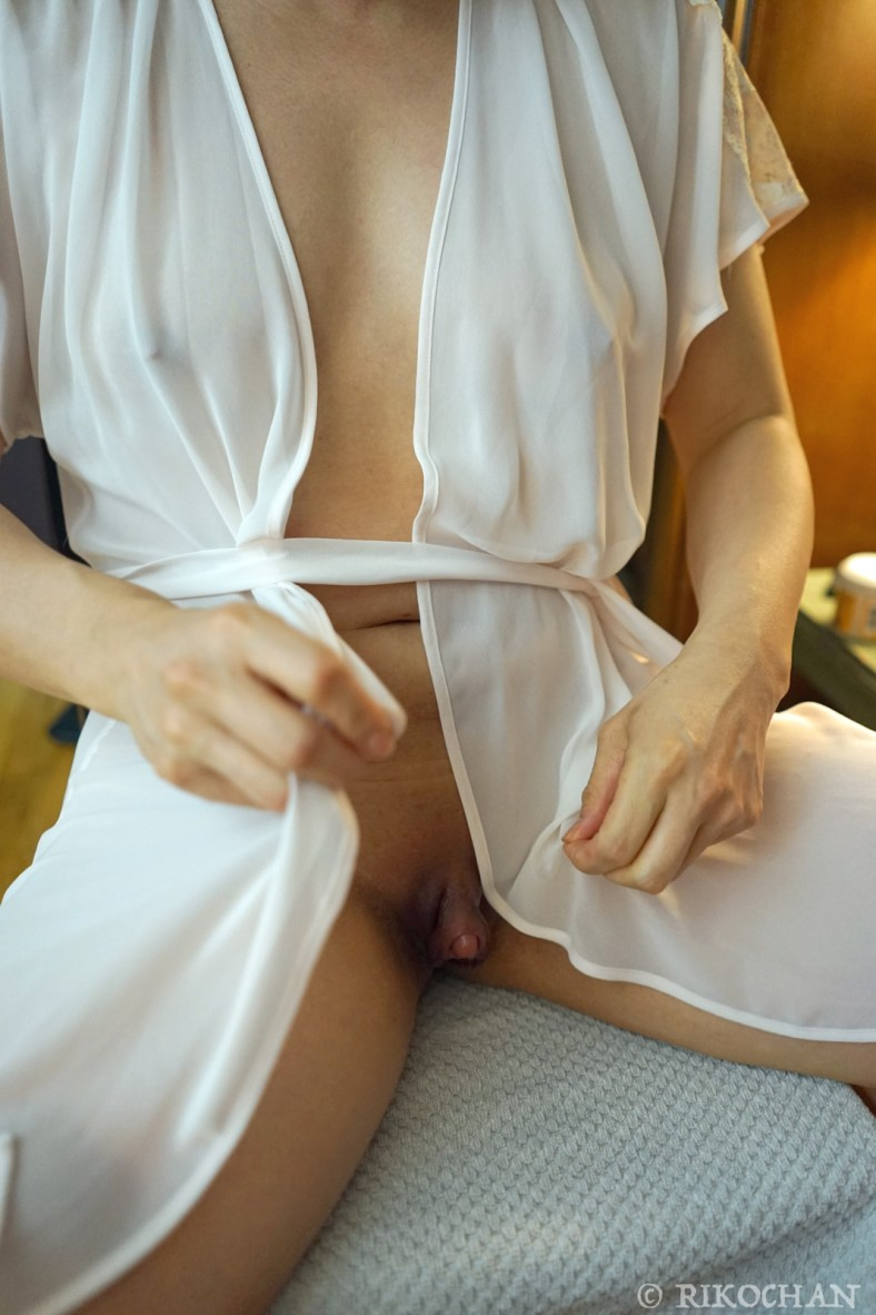 Big clit, white lingerie