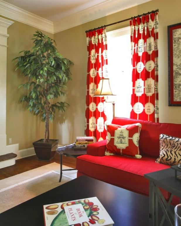 15 Lively And Colorful Curtain Ideas For The Living Room Rilane. Designed Red  White ...