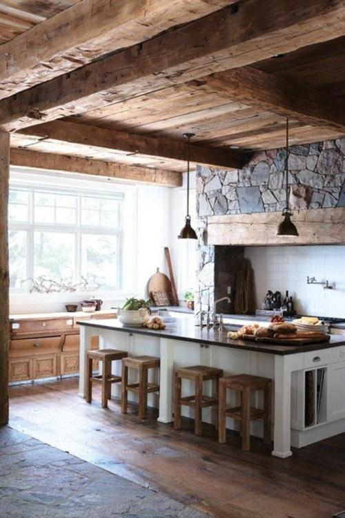 Country Decorating Ideas Interiors Design Wood Stone Kitchen with Large Island