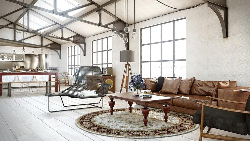 pictures of industrial living rooms