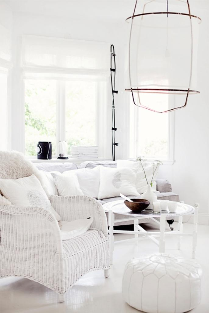 white living room with red accents