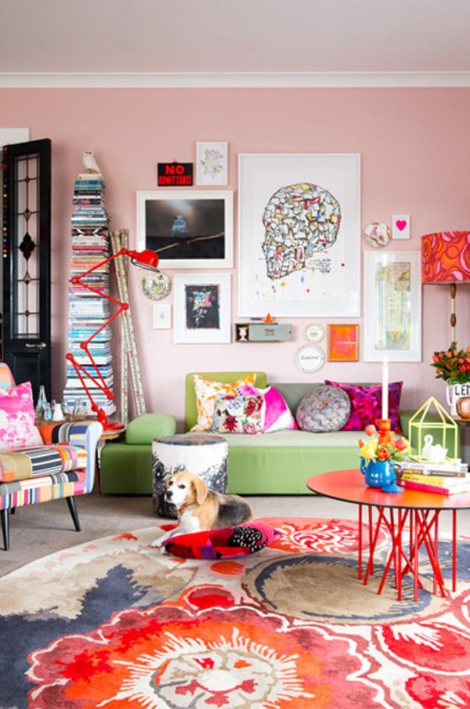 Gallery Wall In 30 Contemporary Living Room Designs - Rilane on Colourful Living Room  id=49163