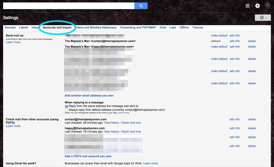 gmail accounts and import options