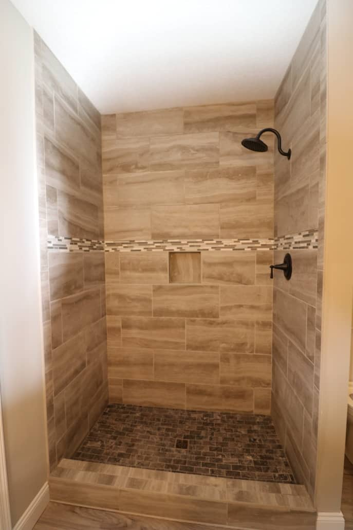 custom tile shower complete step by