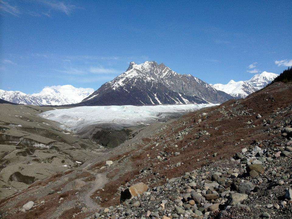 In this photo you can see the Root Glacier Trail winding down to the Kennicott and Root Glaciers