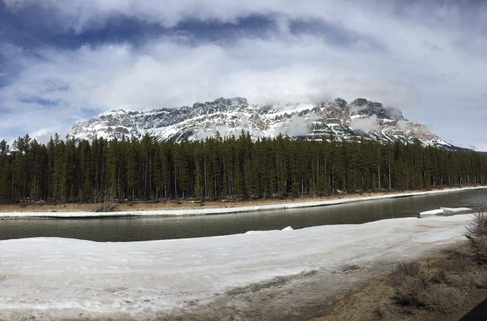 Mountains along the river in Banff