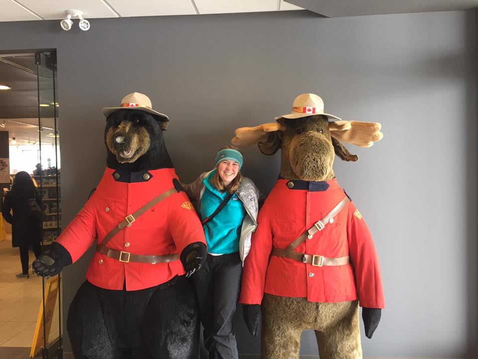 Riley's favorite Canadians: a black bear and moose dressed in Mounty outfits