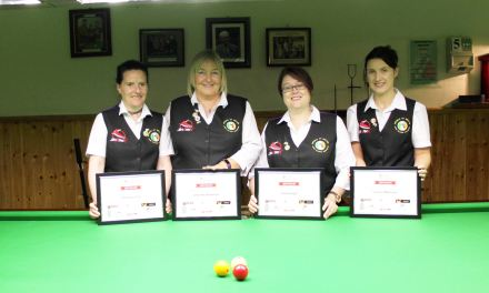 RILSA Award Special Pin to Players Who Represented Ireland at the World Billiards Ranking in Cwmbran Wales recently