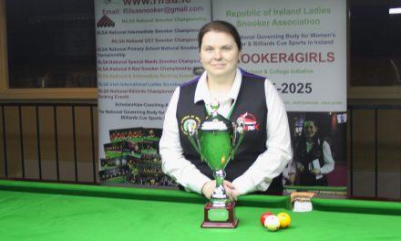 Joanna Ward Wins 100 Up National Billiards Championship at the RILSA Academy Sharkx Newbridge