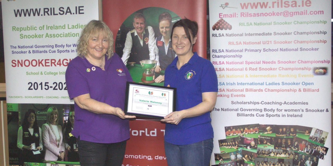 Valerie Maloney Receives Certificate Award for Participation in 100 Events