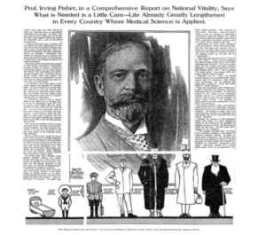 An image in the New York Times depicting Irving Fisher and his pricing of American people at different ages. New York Times, March 5th, 1911.