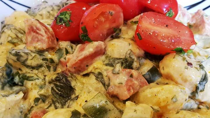 Creamy Gnocchi with Chorizo, Spinach, Courgette and Cherry Tomatoes