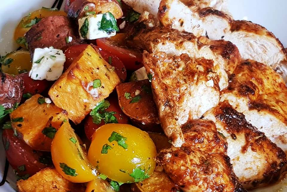 Mexican Tomato Jumble with Spiced Citrus Chicken