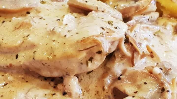 Pork Loin Steaks in Creamy Shallot and Mushrooms Sauce