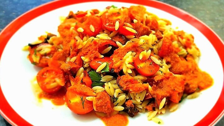 Roasted Pepper and Chorizo Orzo Salad with Pepper and Garlic Dressing